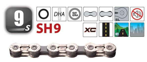 Yaban - Řetěz SH9C stříbrno/šedý 9x